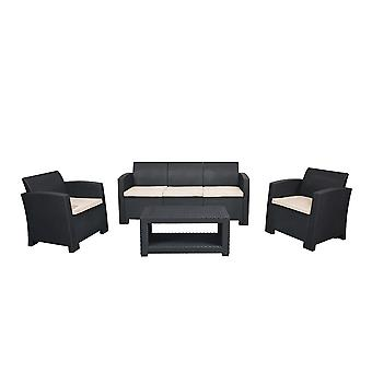 Marbella 5 Seater Rattan Sofa Outdoor Garden Set Coffee Table Graphite Cream