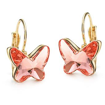 14K Gold Plated Pink Rose Butterfly Earrings