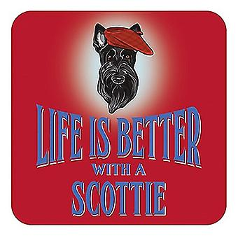 Life Is Better With A Scottie cork backed drinks mat / coaster (og)