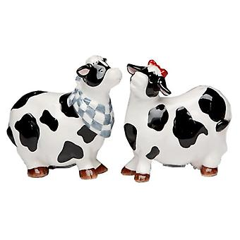 Black and White Country Cows Farm Milk Salt and Pepper Shakers