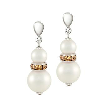 Eternal Collection Alpine Lt Topaz Crystal Shell Pearl Silver Tone Drop Clip On Earrings