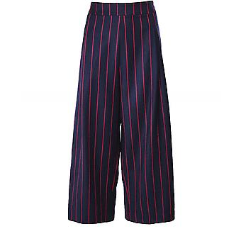 Crea Concept Wool Blend Wide Leg Stripe Trousers