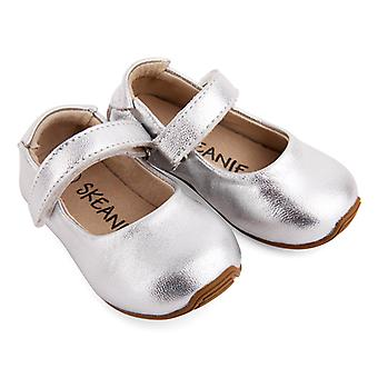 SKEANIE Toddler and Kids Leather Mary-Jane Shoes in Silver