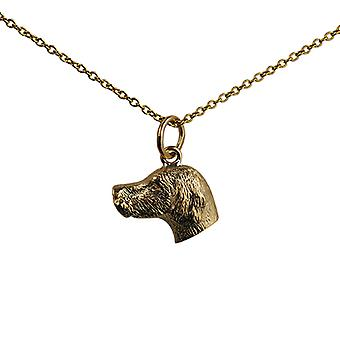 9ct Gold 12x19mm Dog Head Pendant with a cable Chain 16 inches Only Suitable for Children