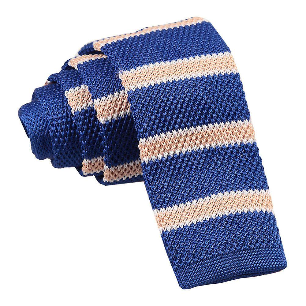 Royal Blue Cream with White Thin Stripe Knitted Skinny Tie