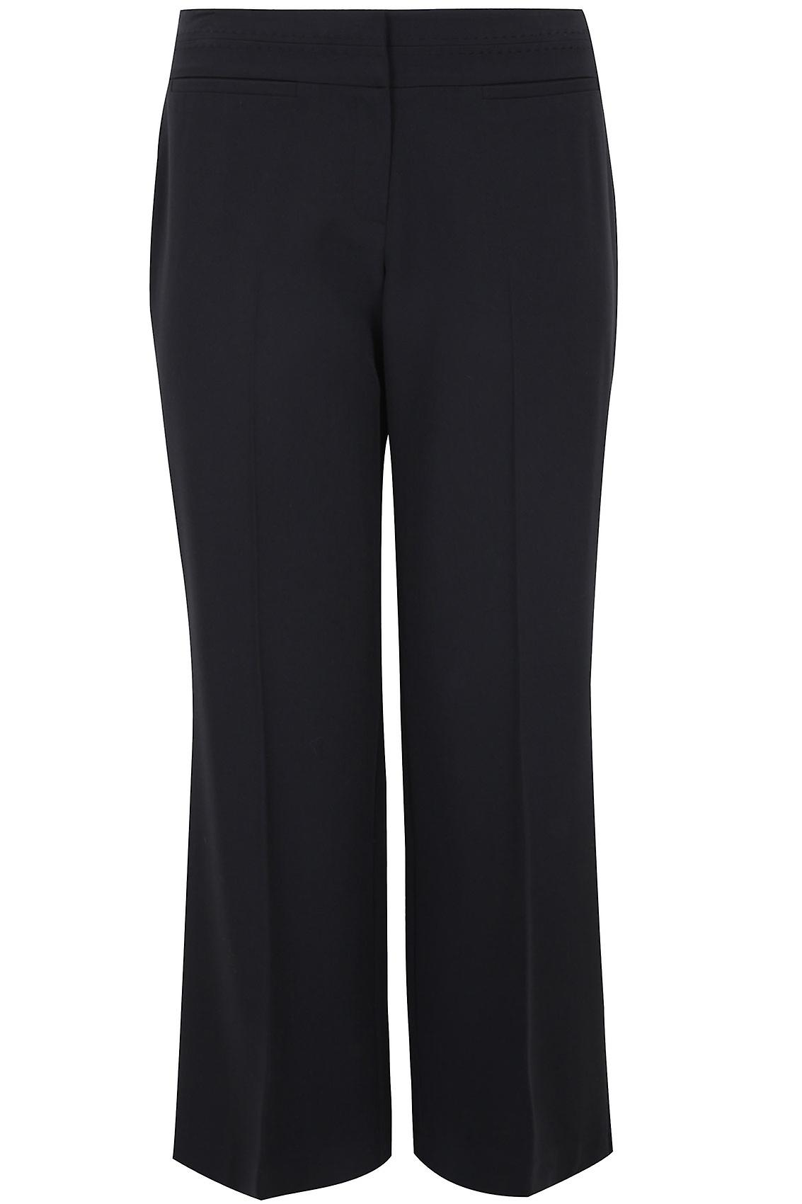 Black Wide Leg Trousers With Stab Stitch Detail