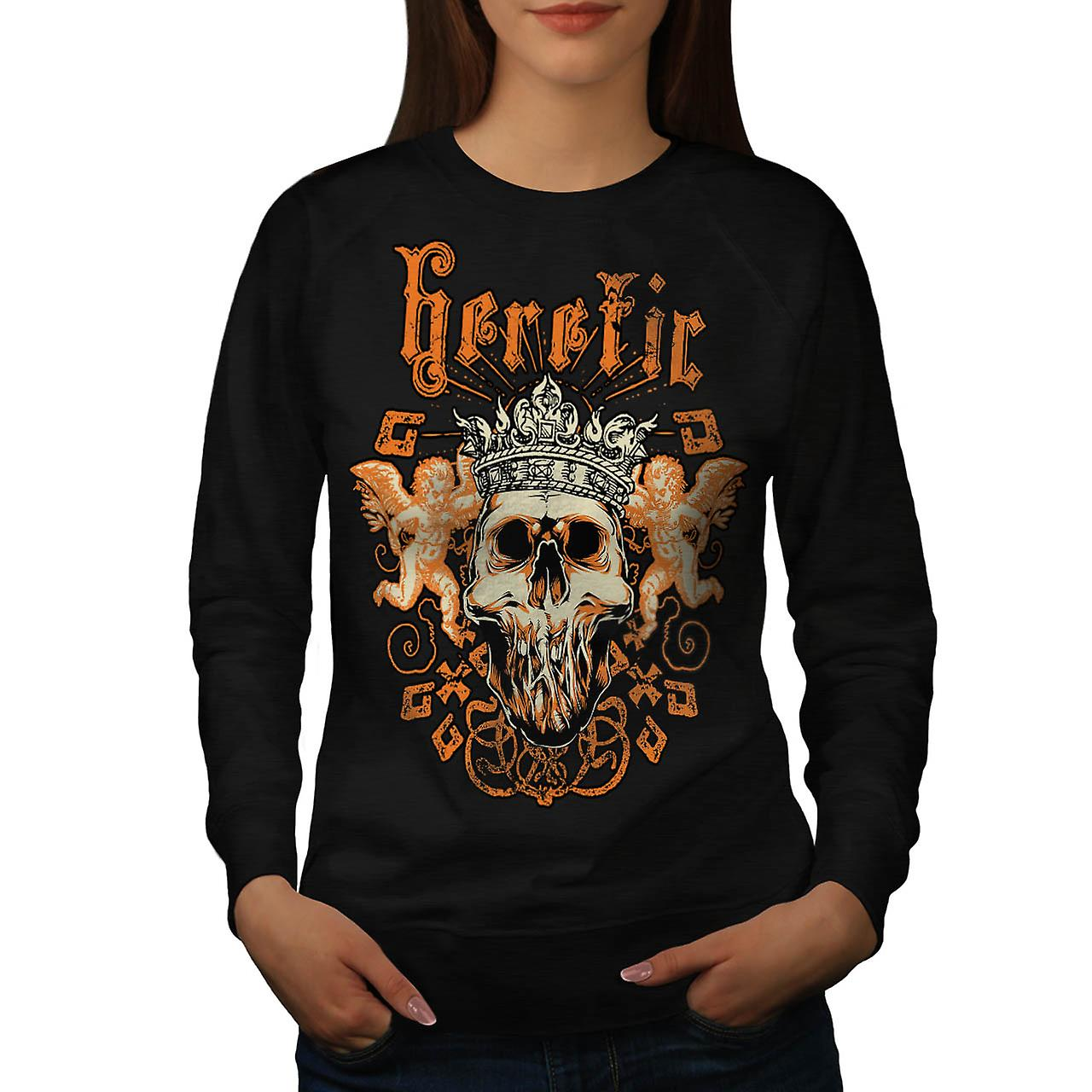 Heretic Monster King Skull Rage Women Black Sweatshirt | Wellcoda