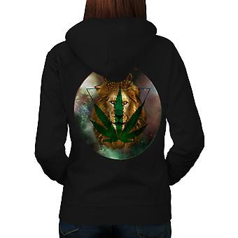 Royal Lion Dope Leaf Triangle Women Black Hoodie Back | Wellcoda