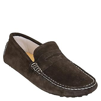 Handmade men's driving moccasins in dark brown suede