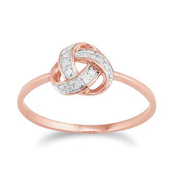 9ct Rose Gold Diamond liefde knoop Ring