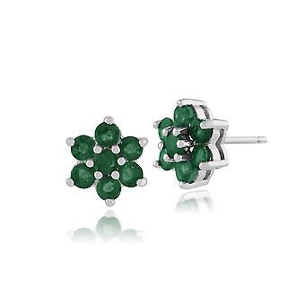Gemondo 925 Sterling sølv 1,38 ct Emerald Floral Stud øredobber