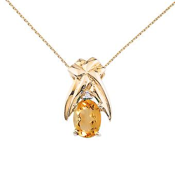 14k Yellow Gold 7x5 mm Citrine and Diamond Oval Shaped Pendant with 18