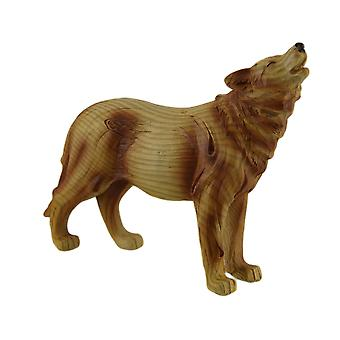 Howling Wolf Decorative Wood Look Statue 9 in.