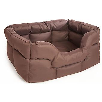 Country Dog Heavy Duty Waterproof Rectangle Drop Front Softee Bed Brown 88x72x35cm