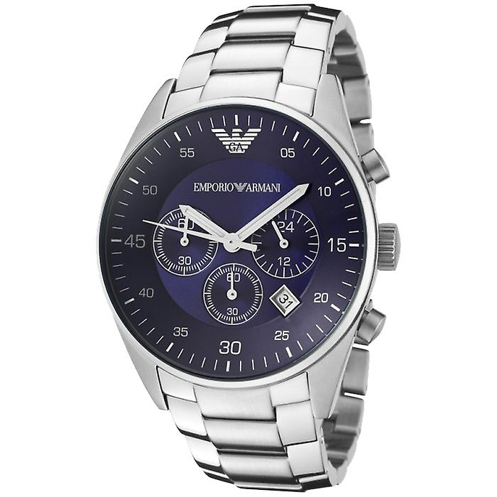 Emporio Armani AR5860 Stainless Steel Blue Dial Chronograph Watch