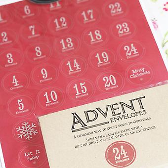 Øst for Indien Vintage stil Advent sæt - 24 kuverter / klistermærker - DIY kalender