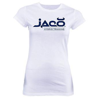 Jaco kvinders HT Crew Neck T-Shirt-hvid/kobolt