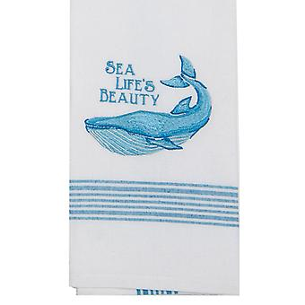 Whale Sea Lifes Beauty Coastal 28 Inch Embroidered Kitchen Dish Tea Towel Cotton