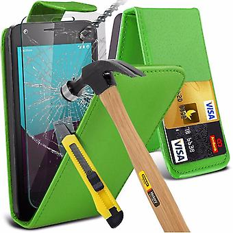 iTronixs - Apple iPhone 5/SE Premium Quality PU Leather Flip Cover with Tempered Glass