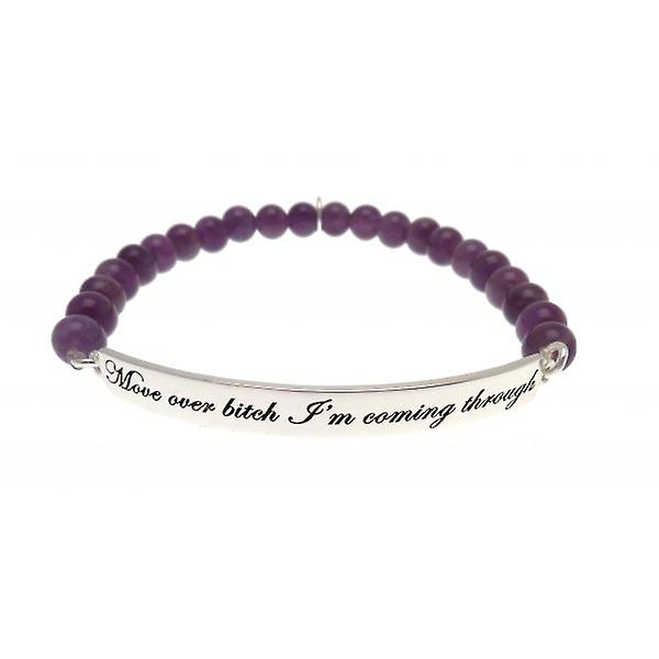 W.A.T Sterling Silver 'Move Over Bitch' Amethyst Bead Quote Bracelet