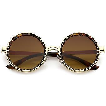 Steampunk Metall Runde Sonnenbrille mit Spike Details und flache Linse 50mm