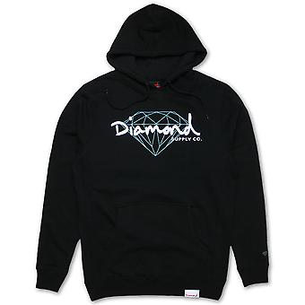 Diamond Supply Co strålende Script hættetrøje sort
