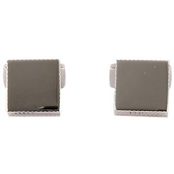 David Aster Square Links Diamond Cut Cufflinks - Silver