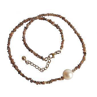 Ladies - necklace - diamond - champagne - bronze - Pearl - White - 45 cm