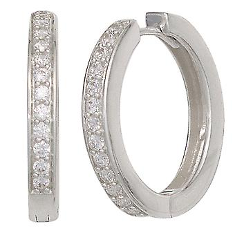 Rhodium-plated hoop earrings silver Keywork around 925 sterling silver with cubic zirconia