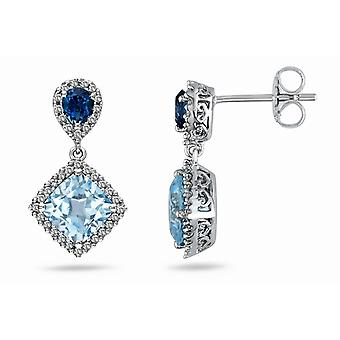 Affici Sterling zilveren Drop Earrings 18ct witgoud verguld met blauwe topaas & Sapphire CZ edelstenen