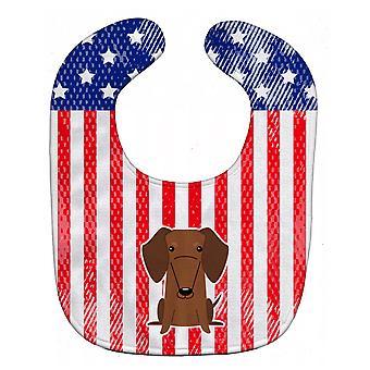 Каролинских сокровища BB3125BIB патриотических США такса красный коричневый ребенок нагрудник