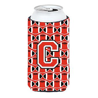 Letter C Football Scarlet and Grey Tall Boy Beverage Insulator Hugger