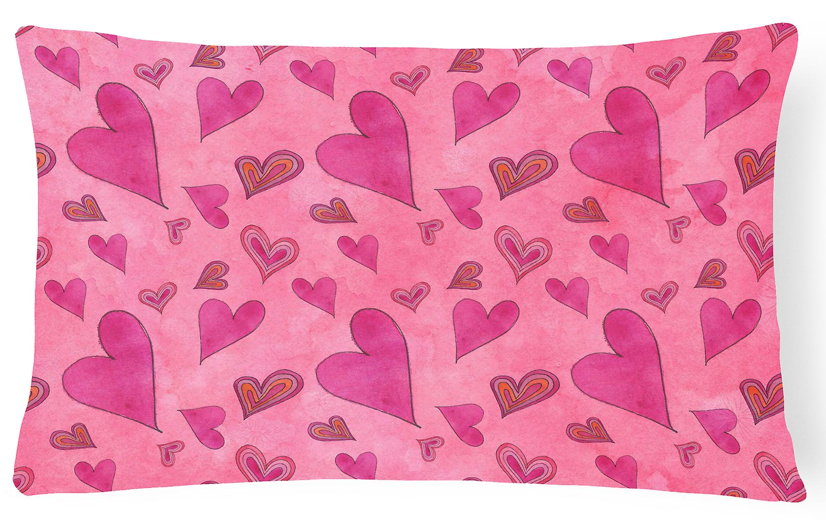 Hearts Canvas Watercolor Fabric Pillow Love Decorative And TOPukZiwX