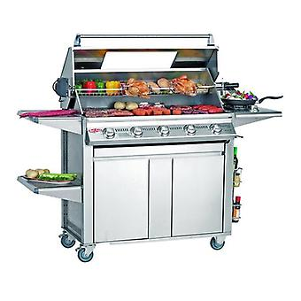 BeefEater Signature Plus 5 Burner BBQ & Side Burner - Cast Iron