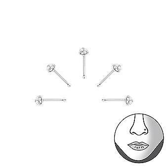 Set Of 5 2mm Round Nose Studs With Ball - 925 Sterling Silver Nose Studs