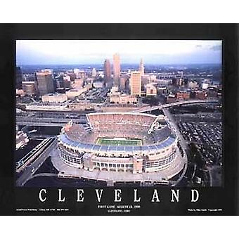 Cleveland-Ohio - braun Stadion Poster Print von Mike Smith (28 x 22)