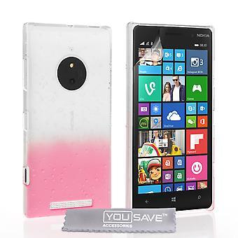Nokia Lumia 830 Raindrop Etui - Baby Pink-Clear