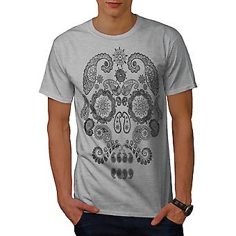 Face Of The Skull Men GreyT-shirt | Wellcoda