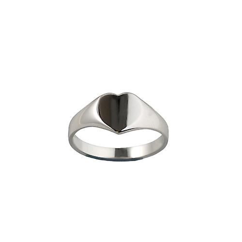 Silver 9x9mm solid plain heart shaped Signet Ring Size J