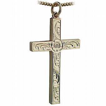 9ct Gold 40x25mm victorian hand engraved solid block Cross with a curb Chain 16 inches Only Suitable for Youths