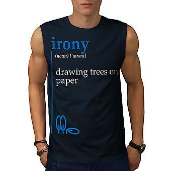 Irony Drawing Men NavySleeveless T-shirt | Wellcoda