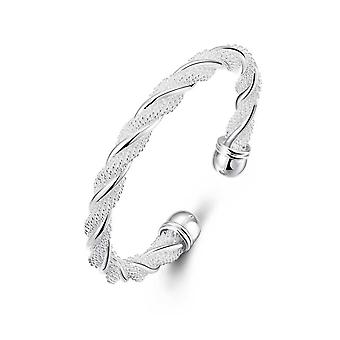 Womens Twist Bracelet Bangle Silver Weave Design BG1701