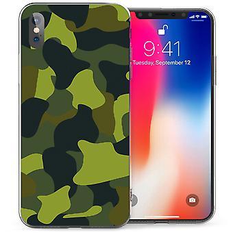 iPhone X зеленый камуфляж ТПУ геля - зеленый