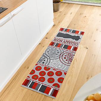 Waschbarer Küchenläufer Buon Appetito Rot Grau 50x150 cm