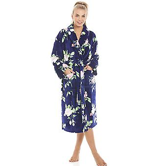 Camille Luxurious Navy Supersoft Fleece Light Pink Rose Print Bathrobe