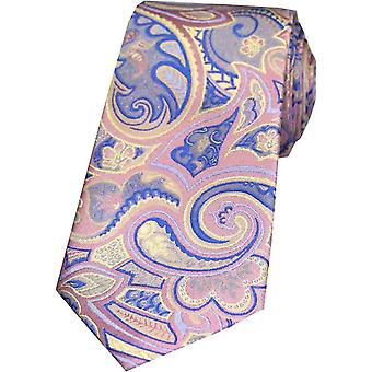 Posh and Dandy Edwardian Paisley Silk Tie - Pastel Pink/Blue