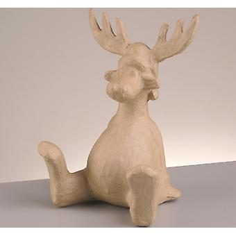 SALE -  215mm Paper Mache Seated Rudolph Reindeer Shape for Christmas