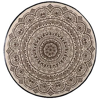 Paillasson de lion salon nougat médaillon rond mat lavable saleté 85 cm