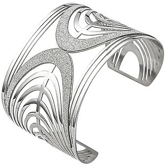 Cuff / open Bangle in stainless steel with glitter bracelet wide