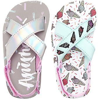 Animal Girls Daisie Kids Childrens Beach Summer Holiday Slip On Thongs Sandals